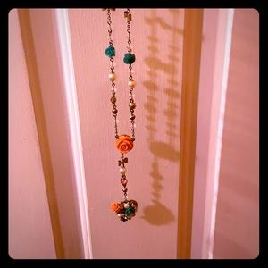 Betsey Johnson teal, peach and gold necklace